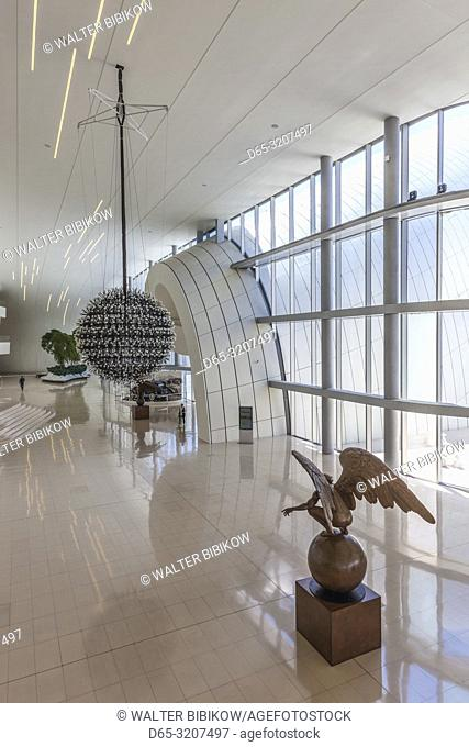 Azerbaijan, Baku, Heydar Aliyev Cultural Center, building designed by Zaha Hadid, Rotated Angel, sculpture by Jorge Martin, NR
