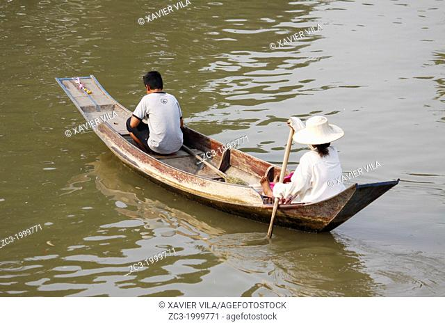 Boat on the river in the city of Phra Nakhon Si Ayutthaya, Thailand