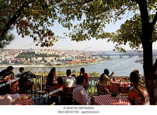 Turkey, Istanbul, People sitting at Pierre Loti Hill Cafe