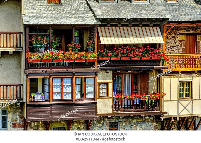 riverside houses, Espalion, Aveyron Department, Occitane, France