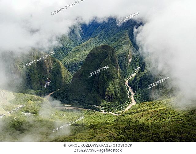 Urubamba River, elevated view from Machu Picchu Mountain, Cusco Region, Peru