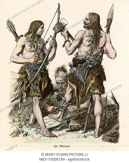 Men of the Stone Age treat their wounds after a successful day's hunting