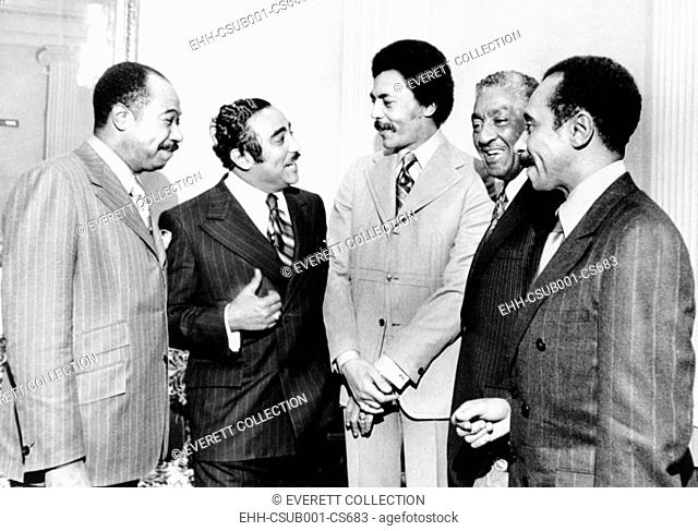 Five new African American members of Congress, Jan. 21, 1971. L-R: George Collins, Illinois; Charles Rangel, New York; Roland Dellums, California; Ralph Metcalf