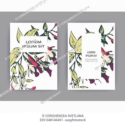 Botanical wedding invitation card template design, hand drawn fuchsia flowers and leaves, pastel color vintage rural with square frame on white background