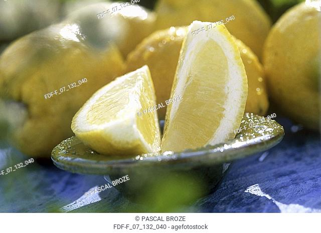Close-up of two lemons cut in half