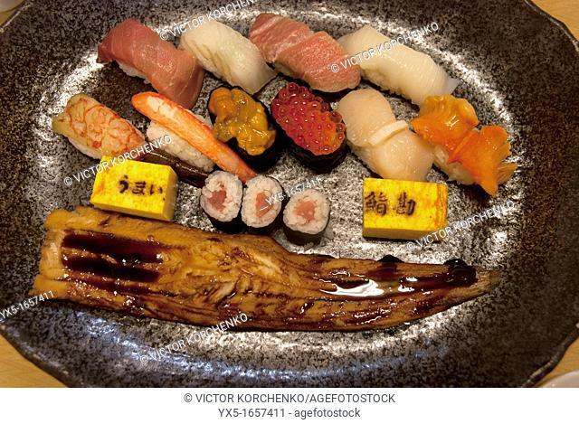 Japanese dish in a restaurant at Tsukiji market in Tokyo