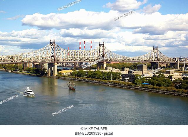 Bridge over urban canal, New York, New York, United States
