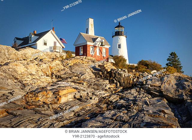 Rock striations below Pemaquid Point Lighthouse near Bristol, Maine, USA