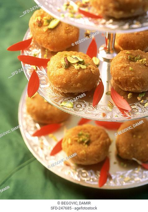 Balushahi (sweet cakes with pistachios) Uttar Pradesh, India