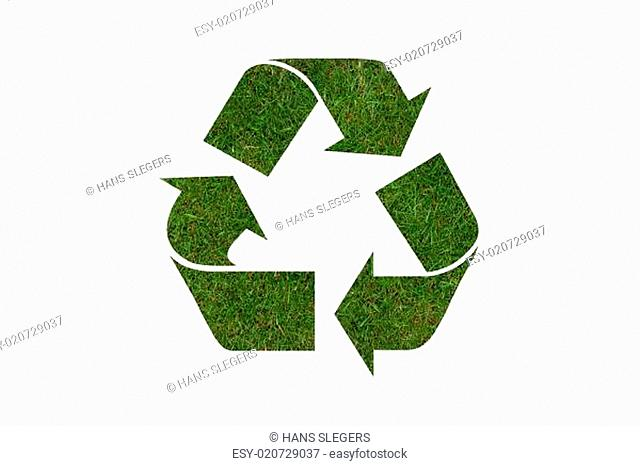recycle symbol with real grass texture