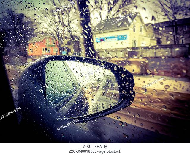 Driving in heavy rain, view from the passenger side, Halifax, Canada