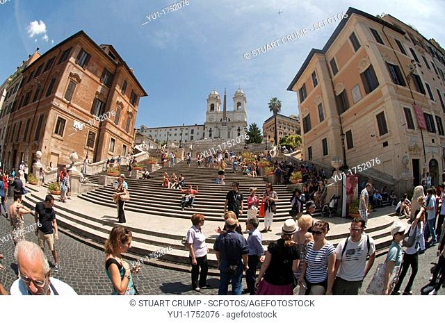 Fisheye view of The Spanish Steps with the Trinità dei Monti church at the top as seen from the Fontana della Barcaccia in the Piazza di Spagna Rome, Italy