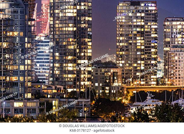 Vancouver downtown apartment buildings at night, Vancouver, BC, Canada