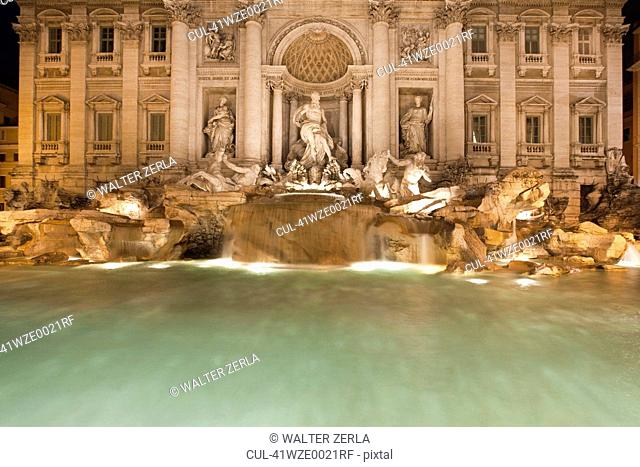 Trevi Fountain lit up at night