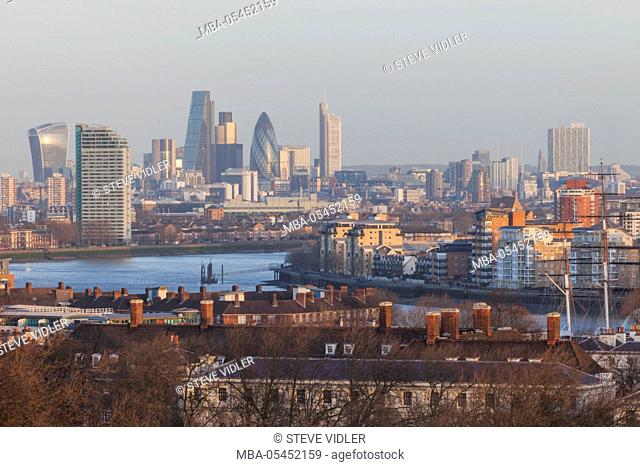 England, London, Greenwich, View of London Skyline from Greenwich