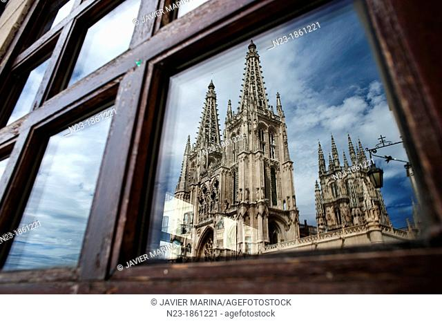 Reflection in a window of the cathedral, Burgos, Spain