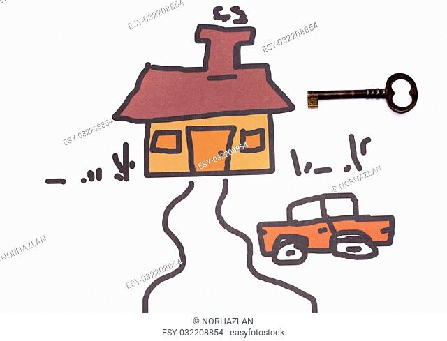 key with a drawing of house and car
