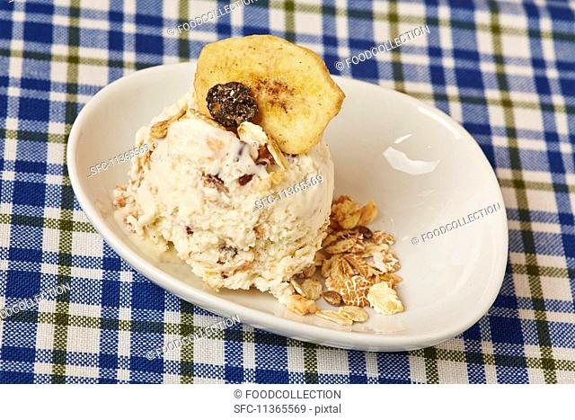 A scoop of homemade muesli ice cream with oats and dried fruit