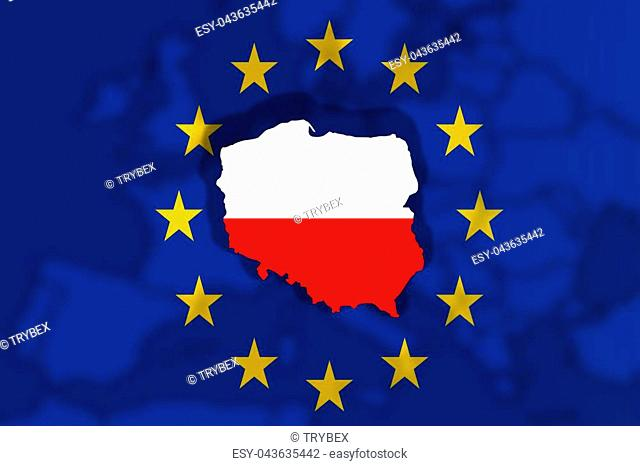 Poland Country on Euro Union flag and Europe background