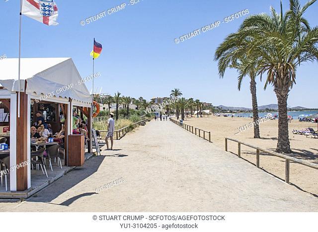 Beach bar at Playa Honda in Murcia Spain
