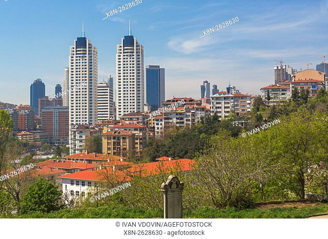 Cityscape with modern buildings, Besiktas, Istanbul, Turkey