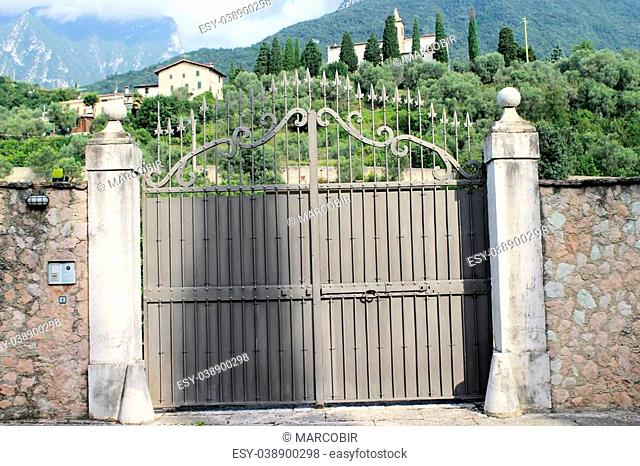 iron entrance gate to rural property