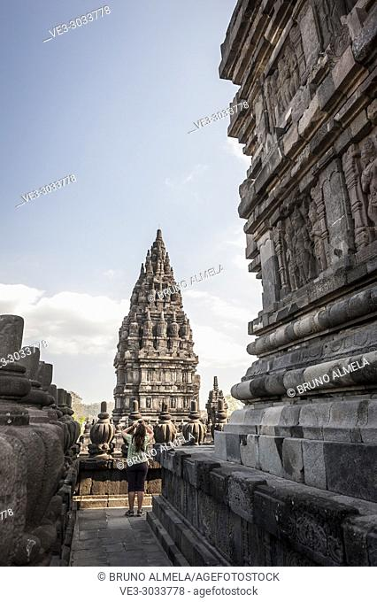 Tourist taking pictures in Prambanan Hindu Temple Coumpounds (UNESCO World Heritage Site), Special Region of Yogyakarta,Central Java, Indonesia