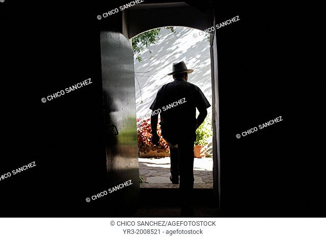 Antonio Mulero, owner of Los Tamayos organic farm, leaves a room in Prado del Rey, Cadiz, Andalusia, Spain, June 24, 2013