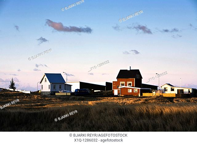 Houses in Hafnir, a small village on the Southern Peninsula Reykjanes, Iceland