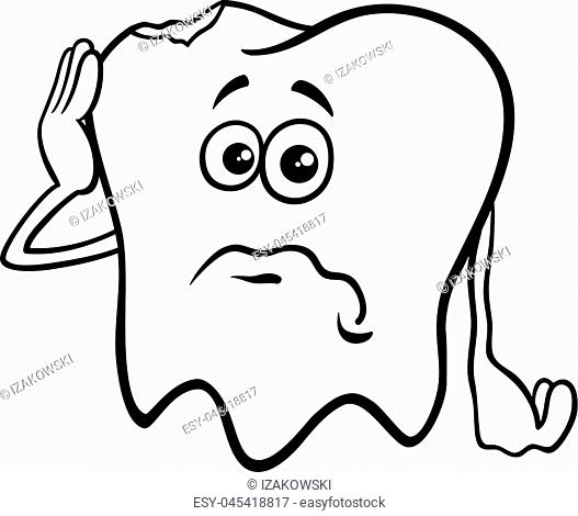Black and White Cartoon Illustration of Sad Tooth Character with Cavity Coloring Book