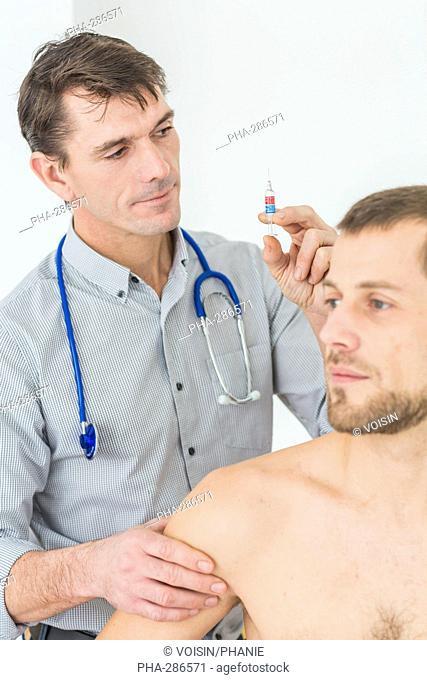 Man receiving vaccination