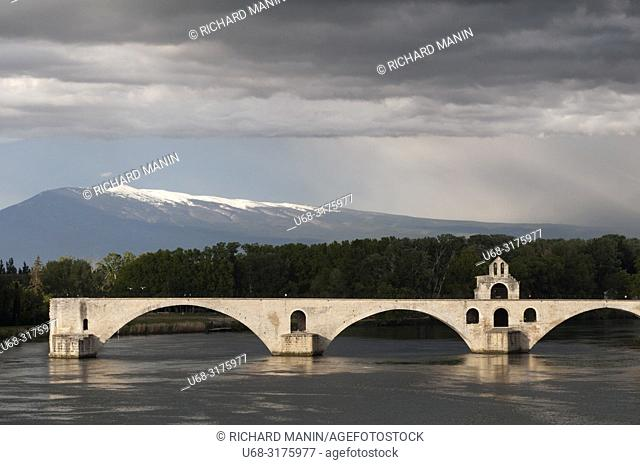 France, Vaucluse, Avignon, Saint Benezet Bridge,12th century, listed as World Heritage by UNESCO, Rhone River, Ventoux mountain