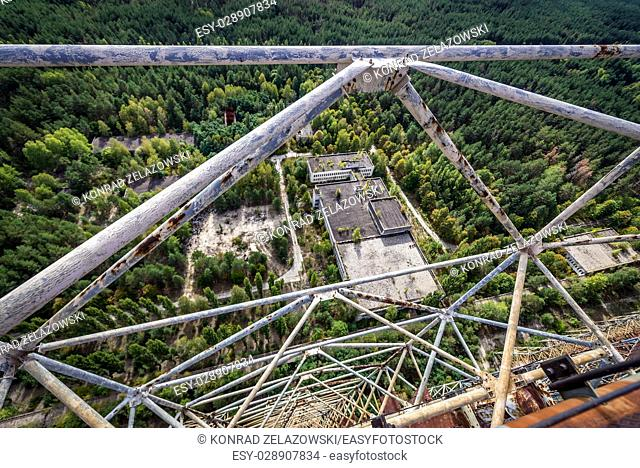 Aerial view from Duga radar system in Chernobyl-2 military base, Chernobyl Nuclear Power Plant Zone of Alienation around nuclear reactor disaster in Ukraine
