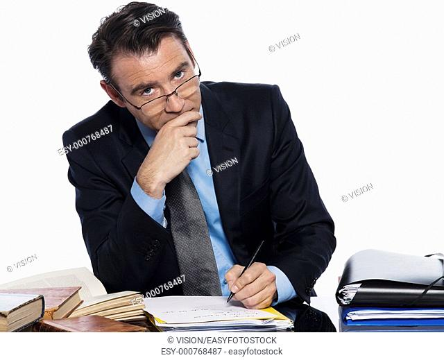 man caucasian teacher professor lecturing serious ponder isolated studio on white background