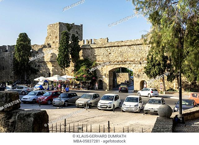 Rhodes, city wall with Elefterias gate