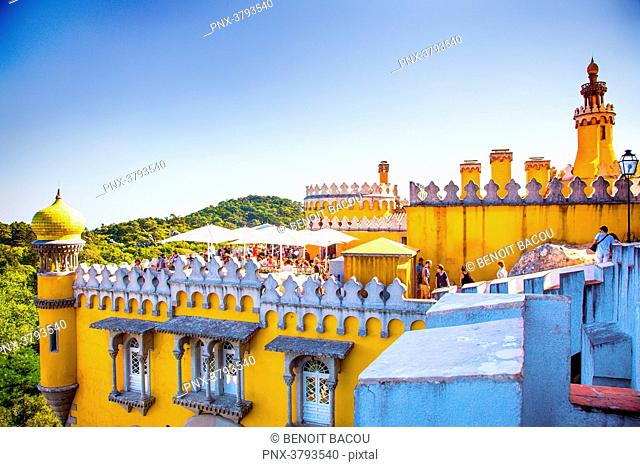 View from the bar of a tower of Pena National Palace, Sintra, Lisbon area, Portugal