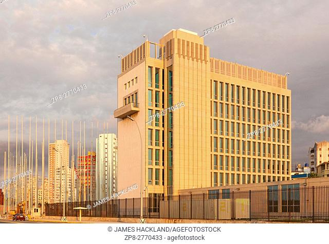 The back of the United States Embassy seen from The Malecon (Maceo Avenue) in Vedado, Havana, Cuba