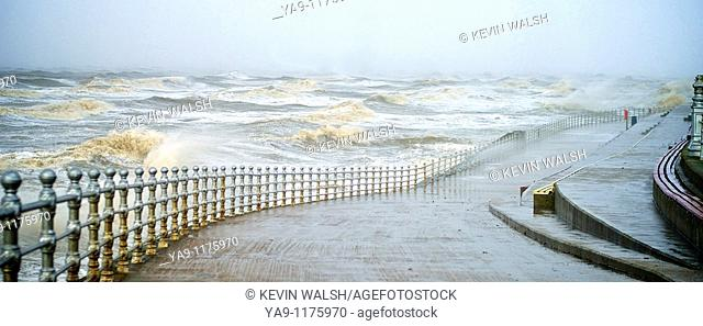 Winter storms hit Blackpool,England