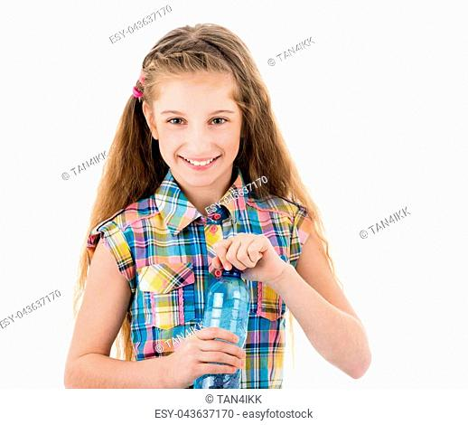 Beautiful girl with small plastic bottle of fresh water isolated on white background