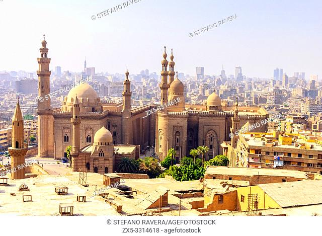Sultan Hassan Mosque and El Rifai Mosque from Citadel - Cairo, Lower Egypt