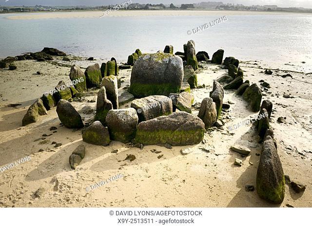 Prehistoric allee couverte burial dolmen of Guirnivit aka Guinirvit Porz Meur. Baie du Kernic, Plouescat, Finistere, France