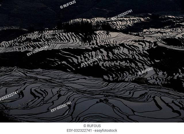 View of Yuan Yang Rice terraces with sunrise