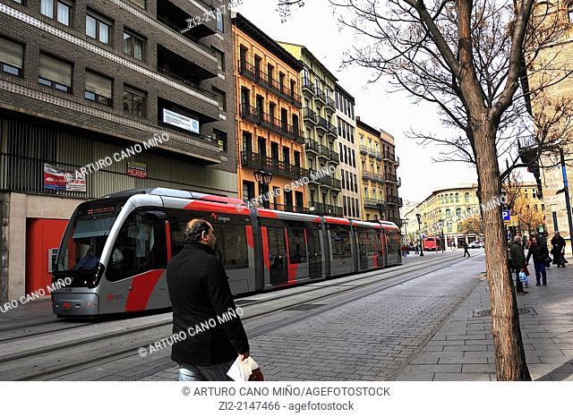 Tramway on Coso street. Zaragoza, Spain