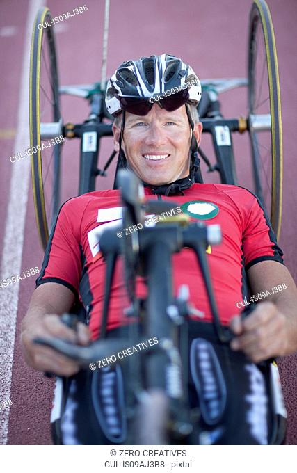 Close up of cyclist in para-athletic training