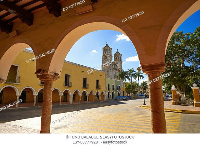 Valladolid city arcs arcade in Yucatan Mexico