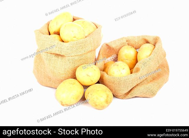Two burlap sacks with potatoes