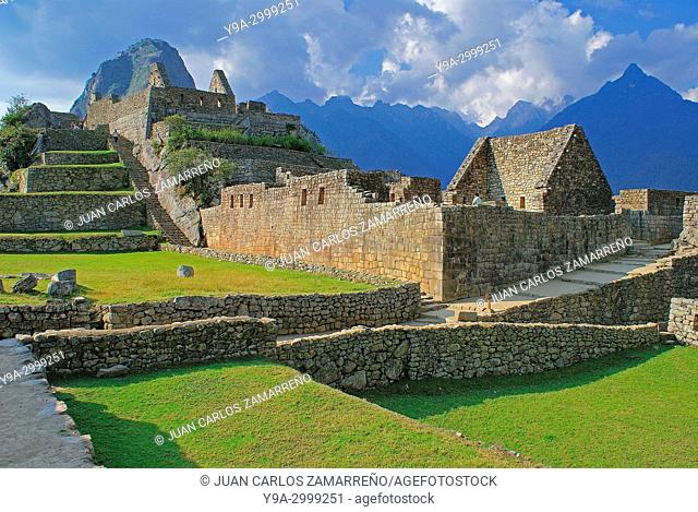 Machu Picchu and Huayna Picchu mountain,Los Andes and Urubamba or Vilcanota river canyon, Llaqtapata inca city, World Heritage, XVth century,Aguas Calientes