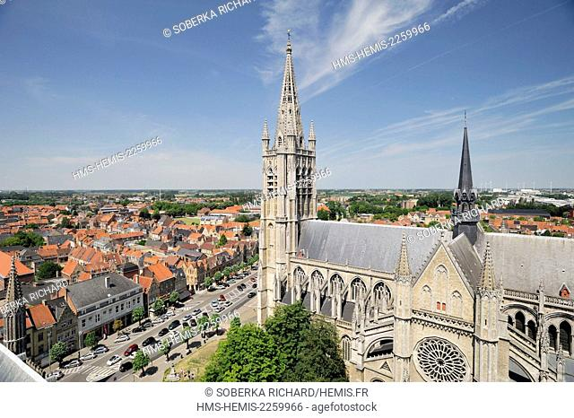 Belgium, West Flanders, Ypres or Ieper, Saint Martin Cathedral view from the belfry of the Cloth Hall