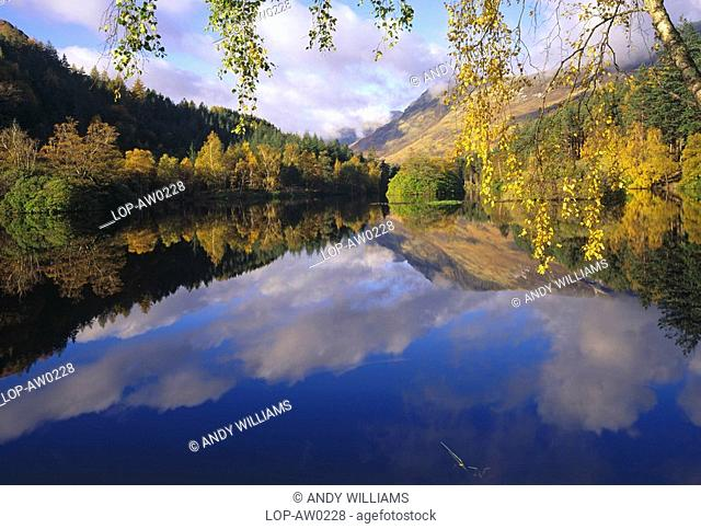 Scotland, Highland, Glencoe, Reflections in the water at The Lochan