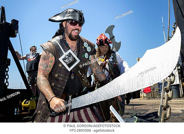Seattle, Washington: Damian â. œTerribleâ. . Terrell arrives with sword drawn at the Seafair Pirates Landing at Alki Beach Park